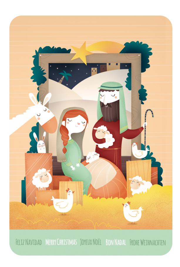 ilustracion christma infantil nacimiento