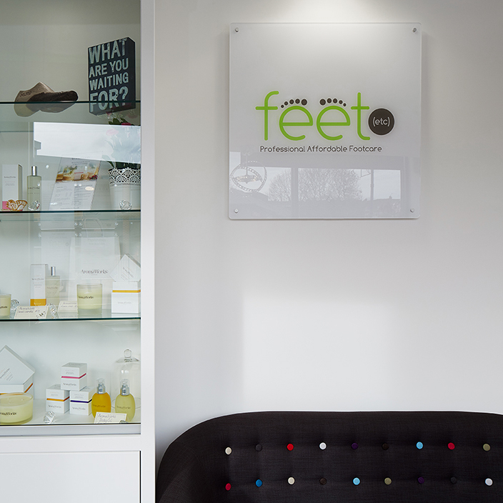 Signage in chiropodists reception area. Feet etc.