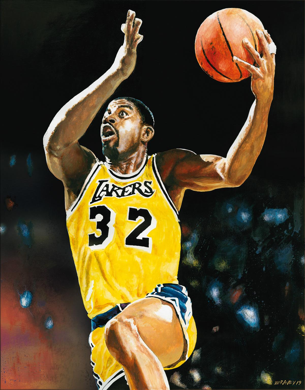 MAGIC JOHNSON NBA goat NBA playoffs L.A. Lakers Dream Team peinture painting   portrait Painted Portrait