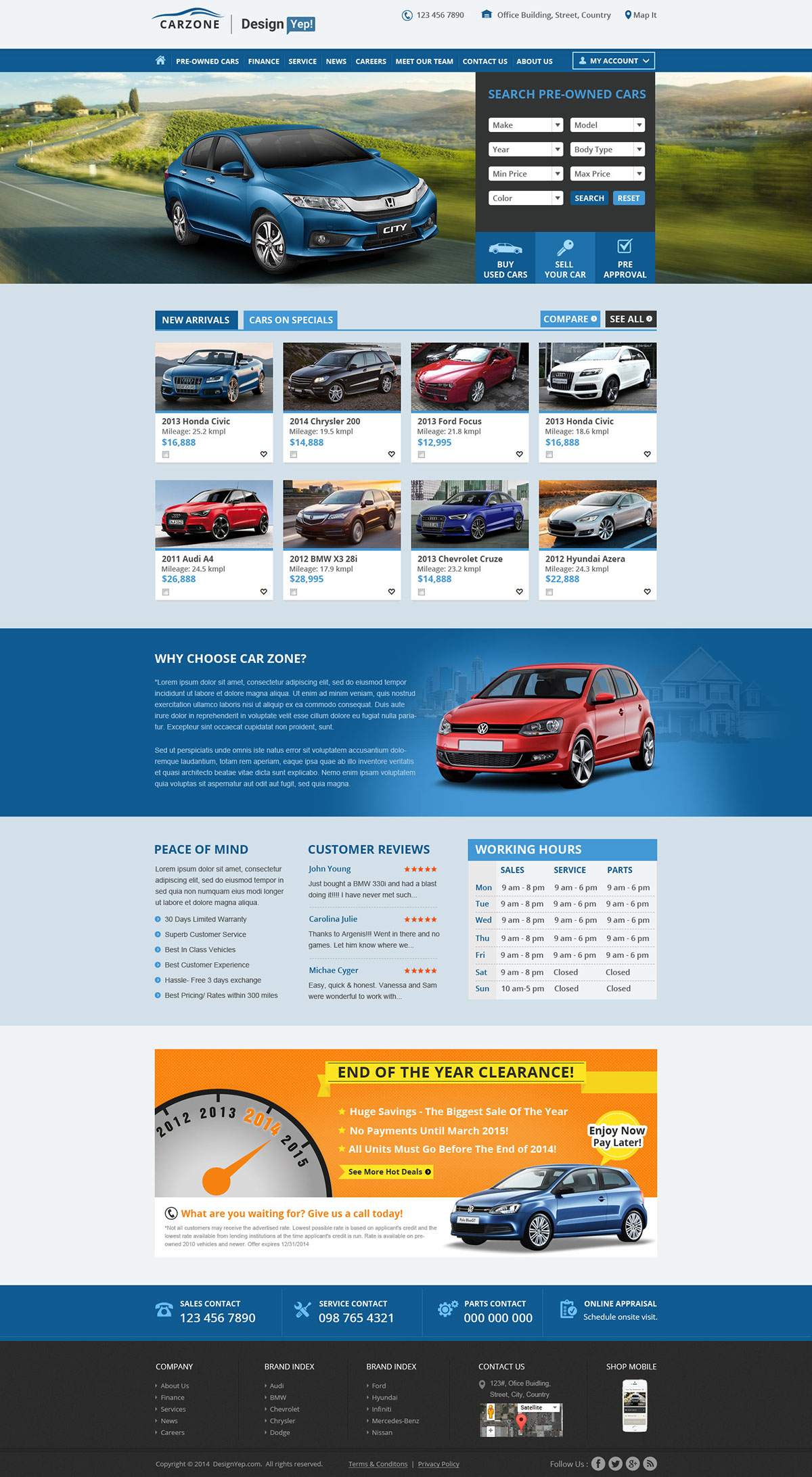 Car Zone Free Car Dealer Psd Website Template On Behance