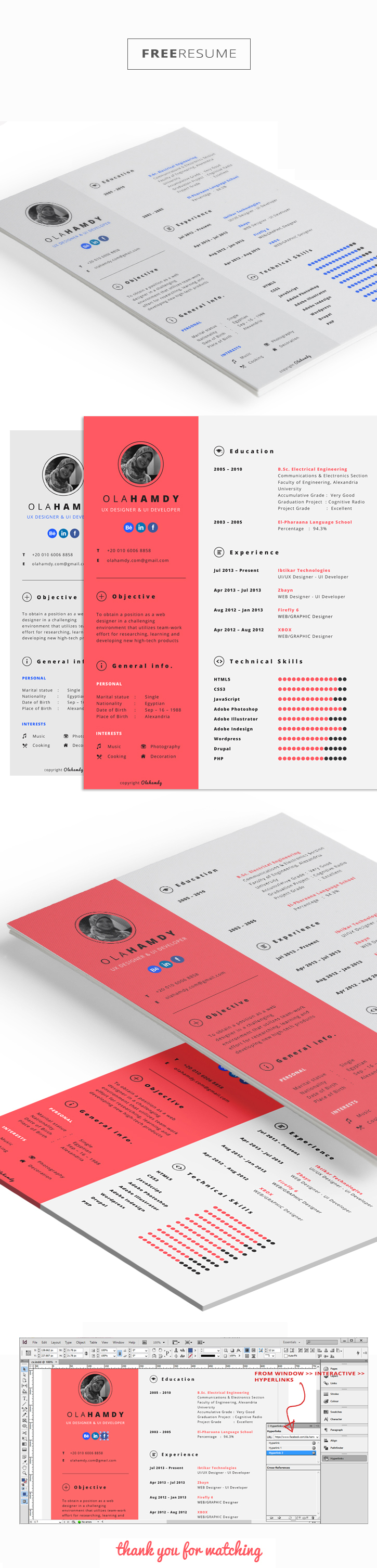 Free Clean Interactive Resume On Behance