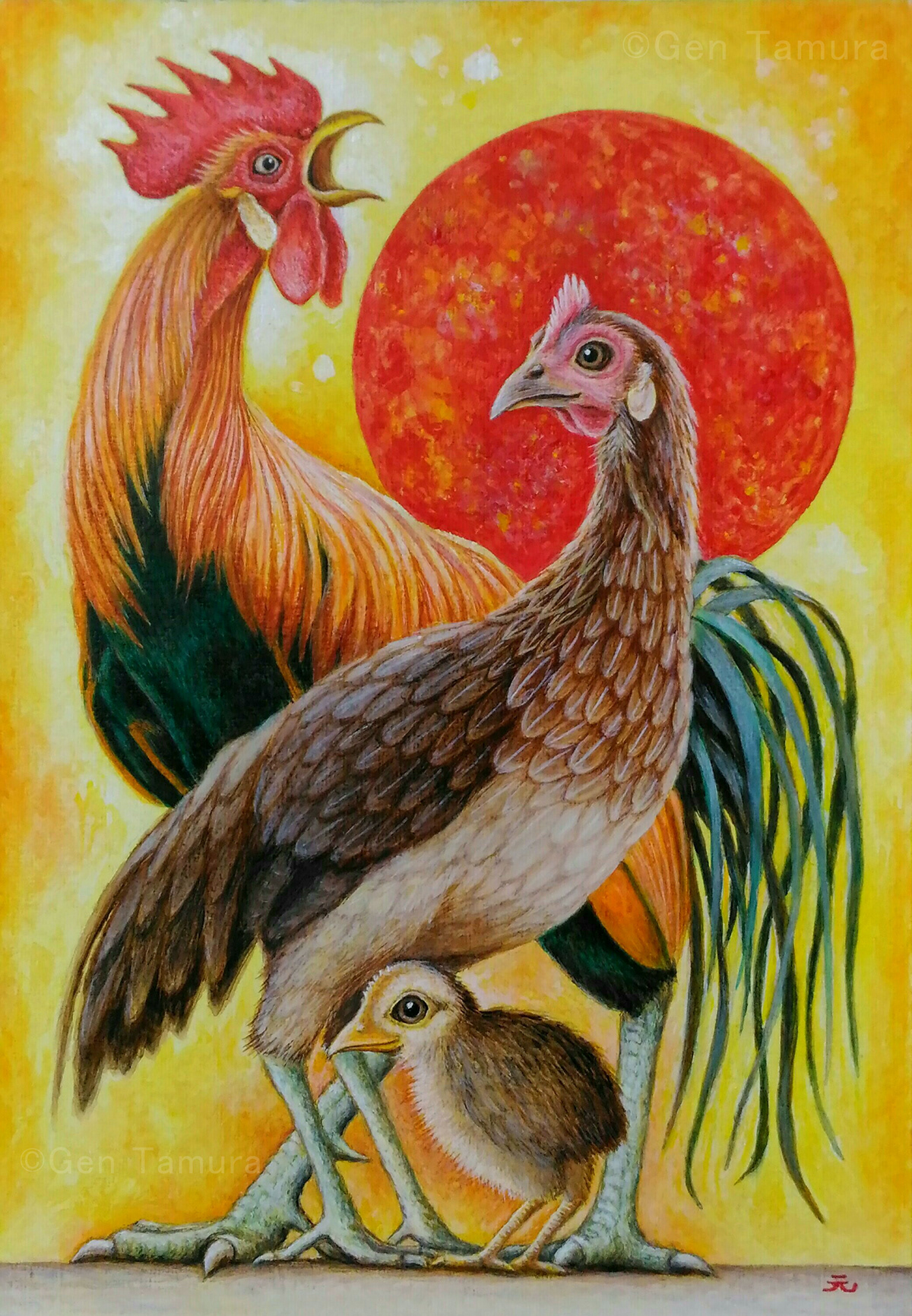 An illustration of Totenko Roosters for the New Year's card of 2017 (Year of the Rooster).