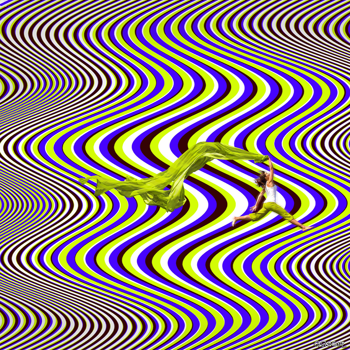 op art kinetic autokinetic gianni sarcone optical illusion visual effect collage psychedelic