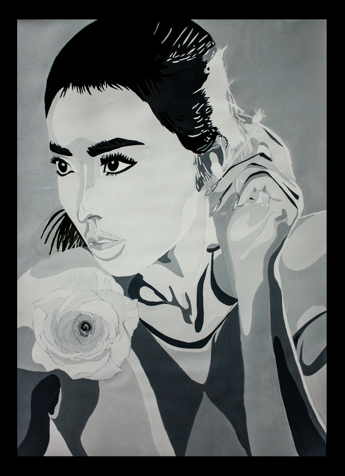 Greyscale Drawing Portrait On Behance