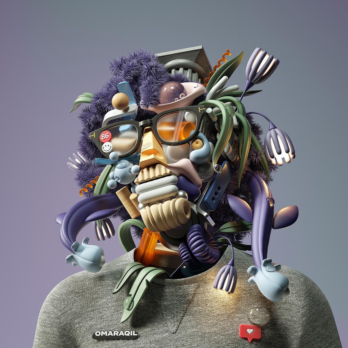3D abstract adobe art cinema4d design ILLUSTRATION  inspiration octanerender   portraits
