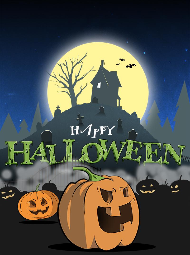 Halloween horror Character pumpkin Scary spooky cemetery
