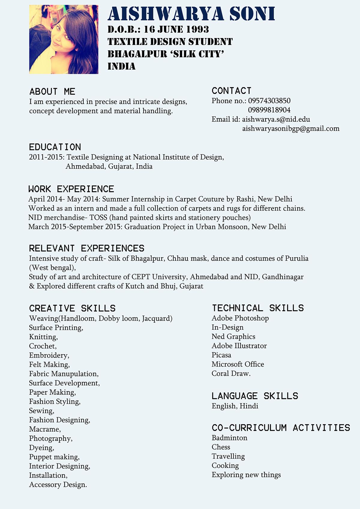 Creative Textile Designer Cv Best Resume Examples