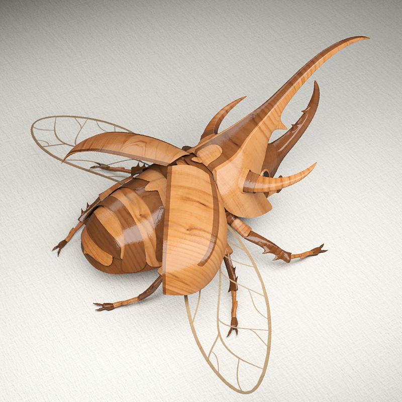wooden beetle Nature Maya 3D print framed vray children