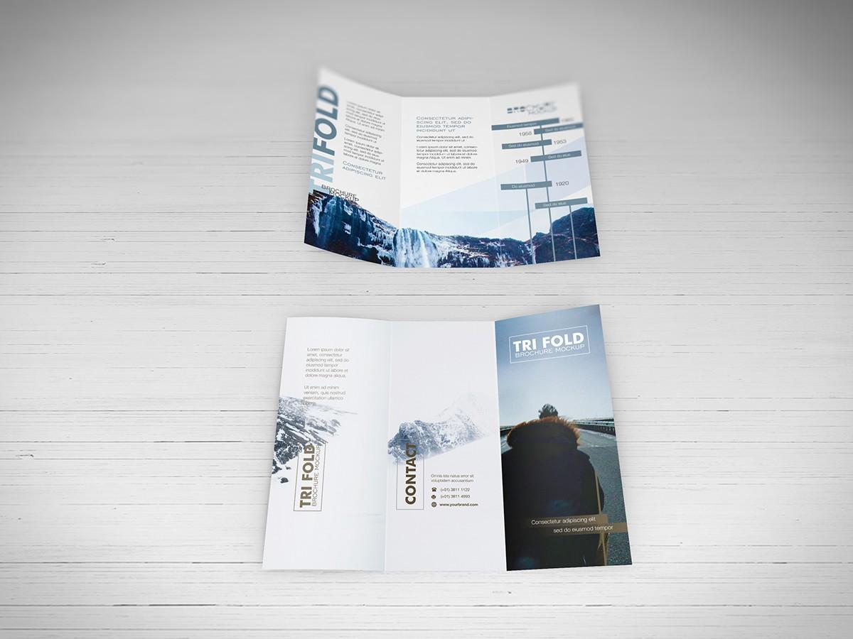 Free PSD Mockups - Trifold Brochure Download on Behance