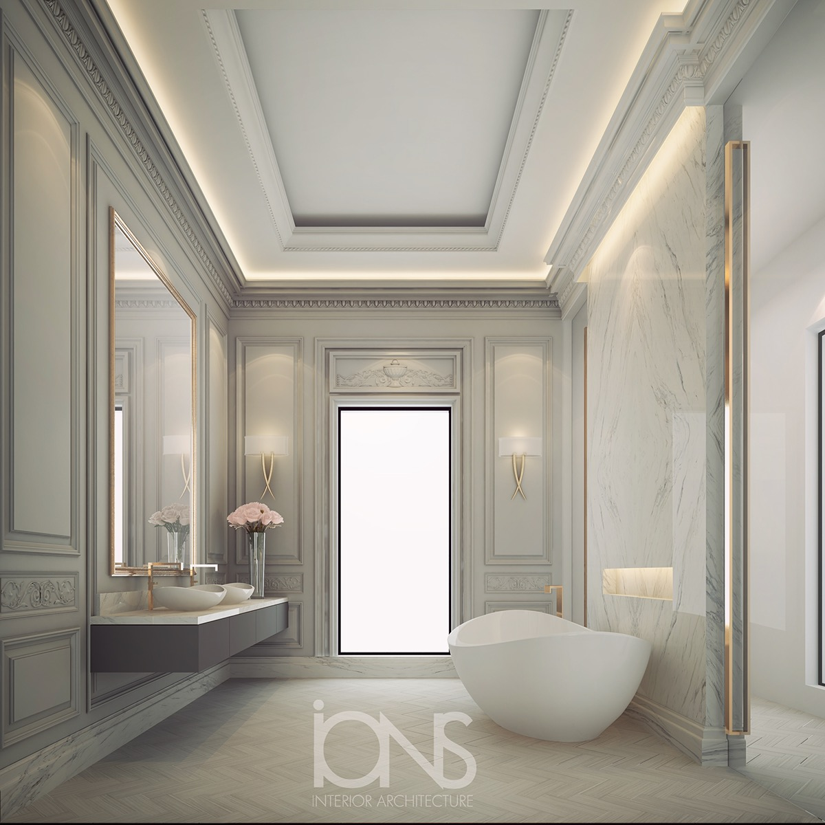 Minimalist Bathroom Design With Interesting Modern Appeal And Splendor Of  Classic Charm For A Private Palace In Dubai. The Functional And Comfortable  Space ...
