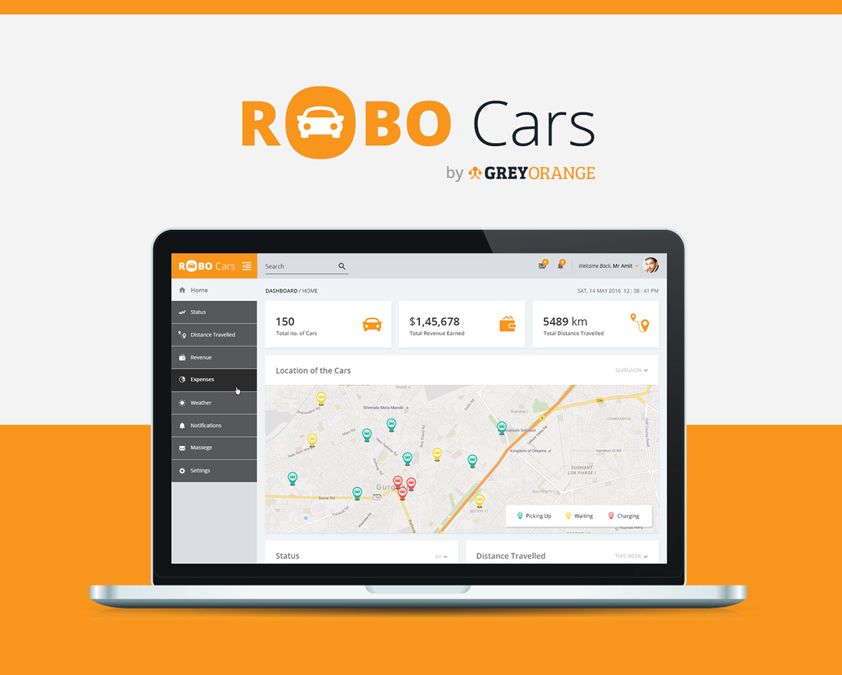 dashboard ui ux design for robot cars on student show