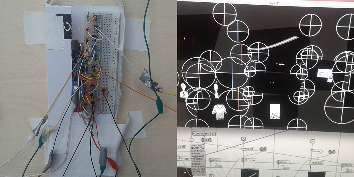 interaction animation  wall Internet ILLUSTRATION  Arduino conductive inkt MaxMsp ux Experience