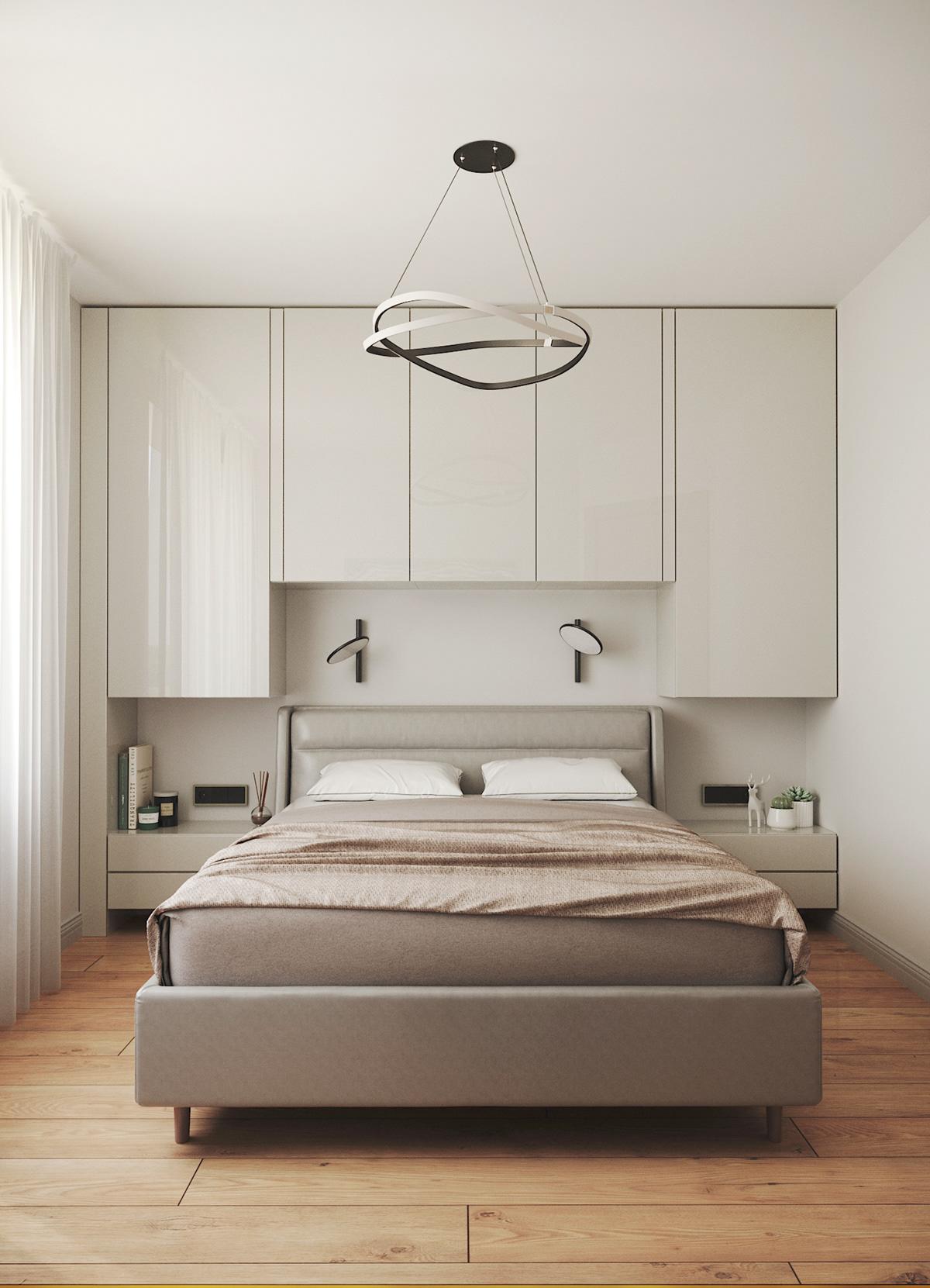Визуализация спальни в современной стилистике.