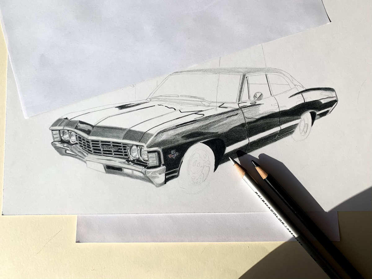 Image may contain: sketch, vehicle and drawing