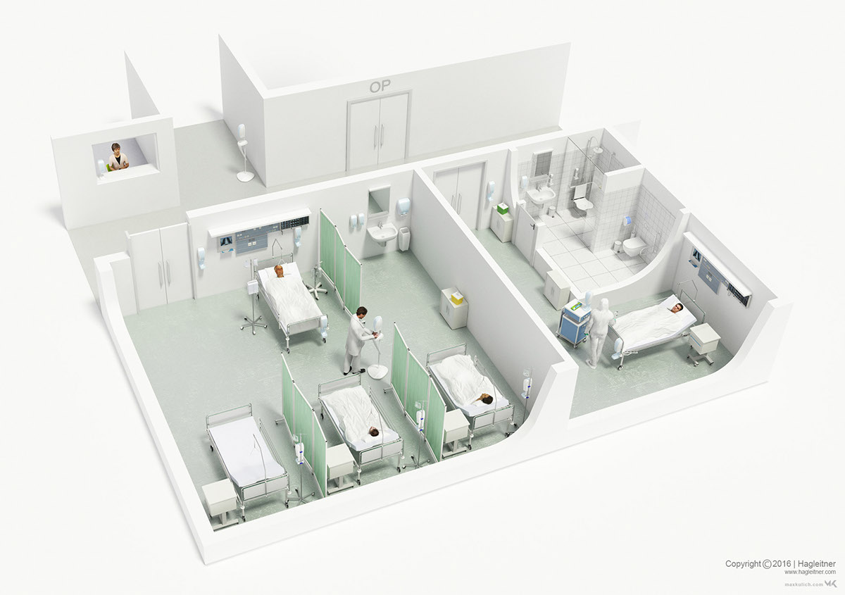 I Designed Five Floor Plans To Illustrate The Application Areas Of  Hagleitner Hygiene Products Including Three Different Hospital  Environments, ...