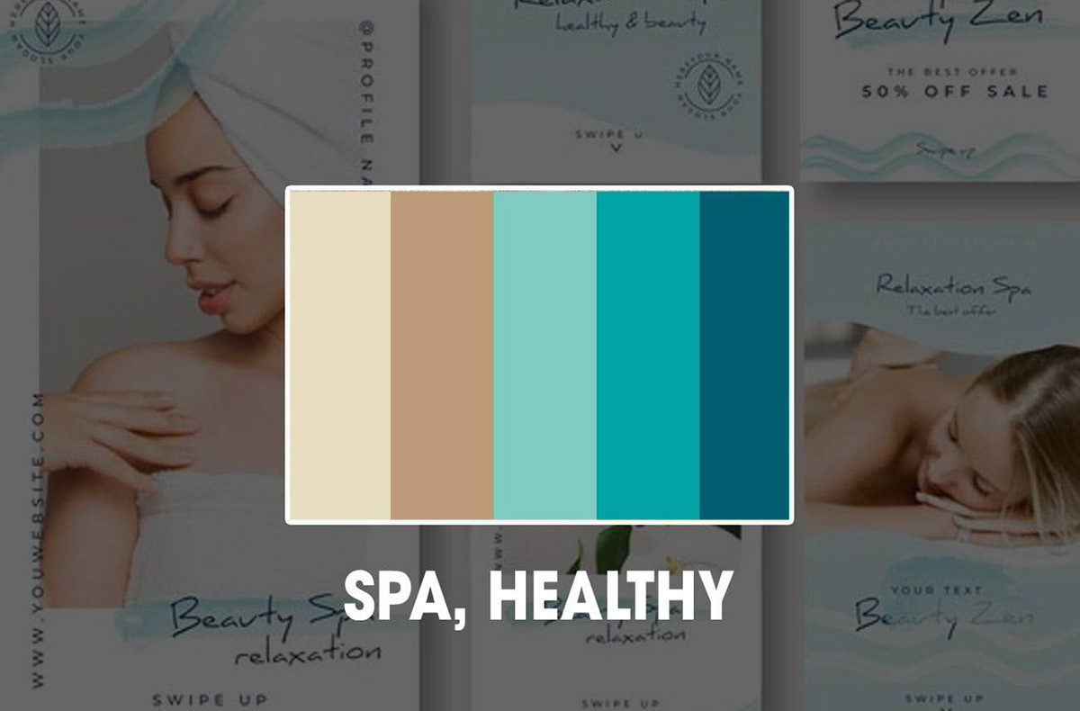 Cách phối màu cho thiết kế Spa, Healthy, Làm đẹp