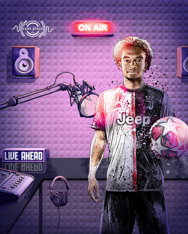 Dynamic sport/football illustration for Juventus vs. Olympique Lyon: Cuadrado, music studio