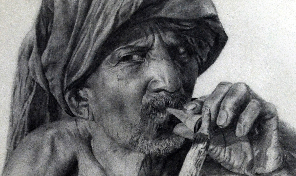 Pencil portrait of an indian village old man smoking on behance