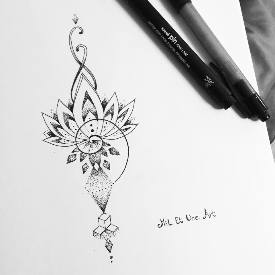 10b9c31db478a Dotwork lotus tattoo design on Behance