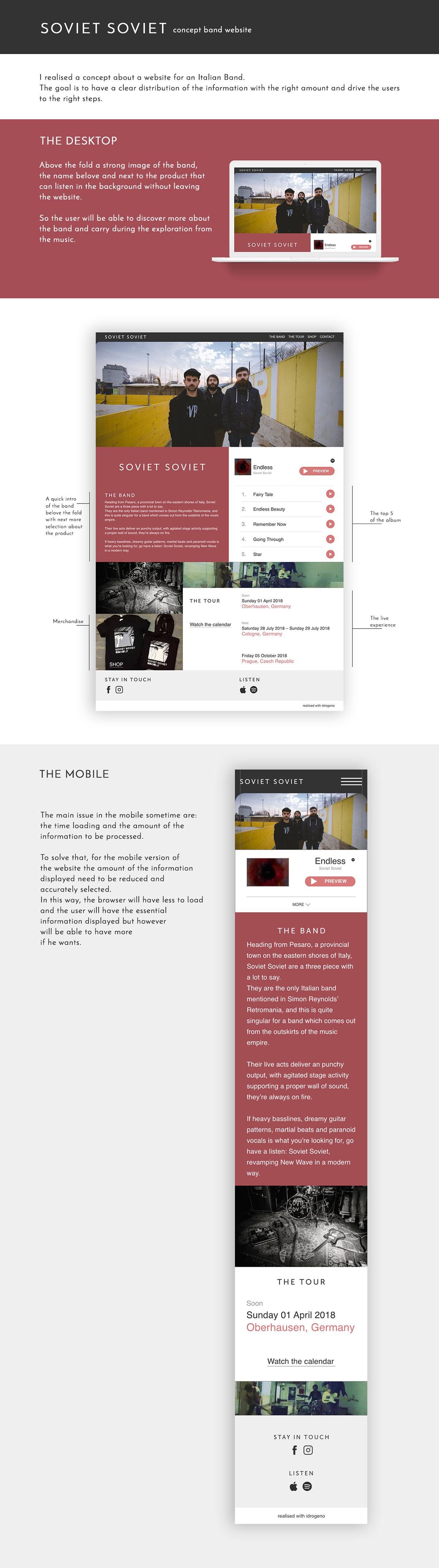 UI ux Website concept band music prototype