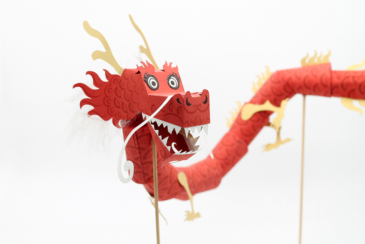 paper toy dragon chinese new year puppet paper art paper craft paper engineering toy freebie