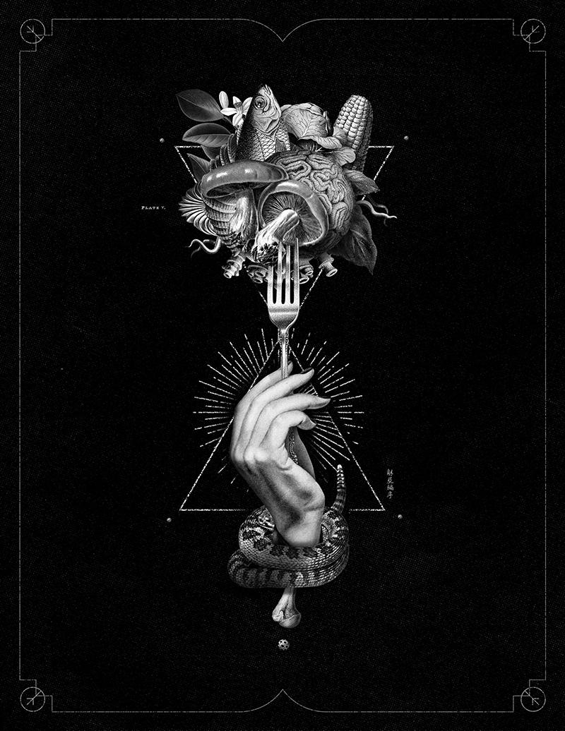 Food  collage engraving esoteric ILLUSTRATION  branding  identity restaurant logo