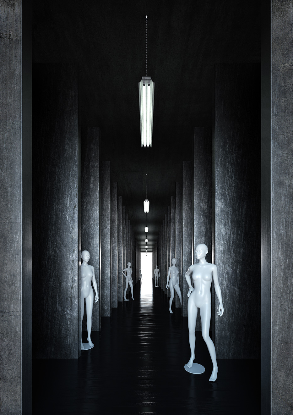CGI modelling Fashion  model mannequin 3D Visualising tunnel subway