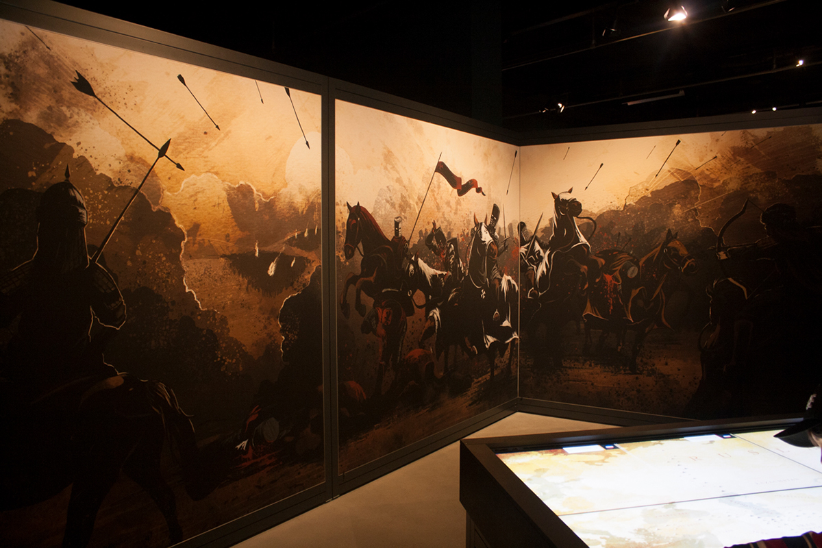 historical ILLUSTRATION  history Mural Exhibition  heritage museum culture Mongols warriors