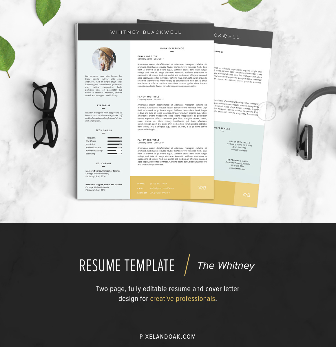 Resume & Cover Letter Template | The Whitney on Behance