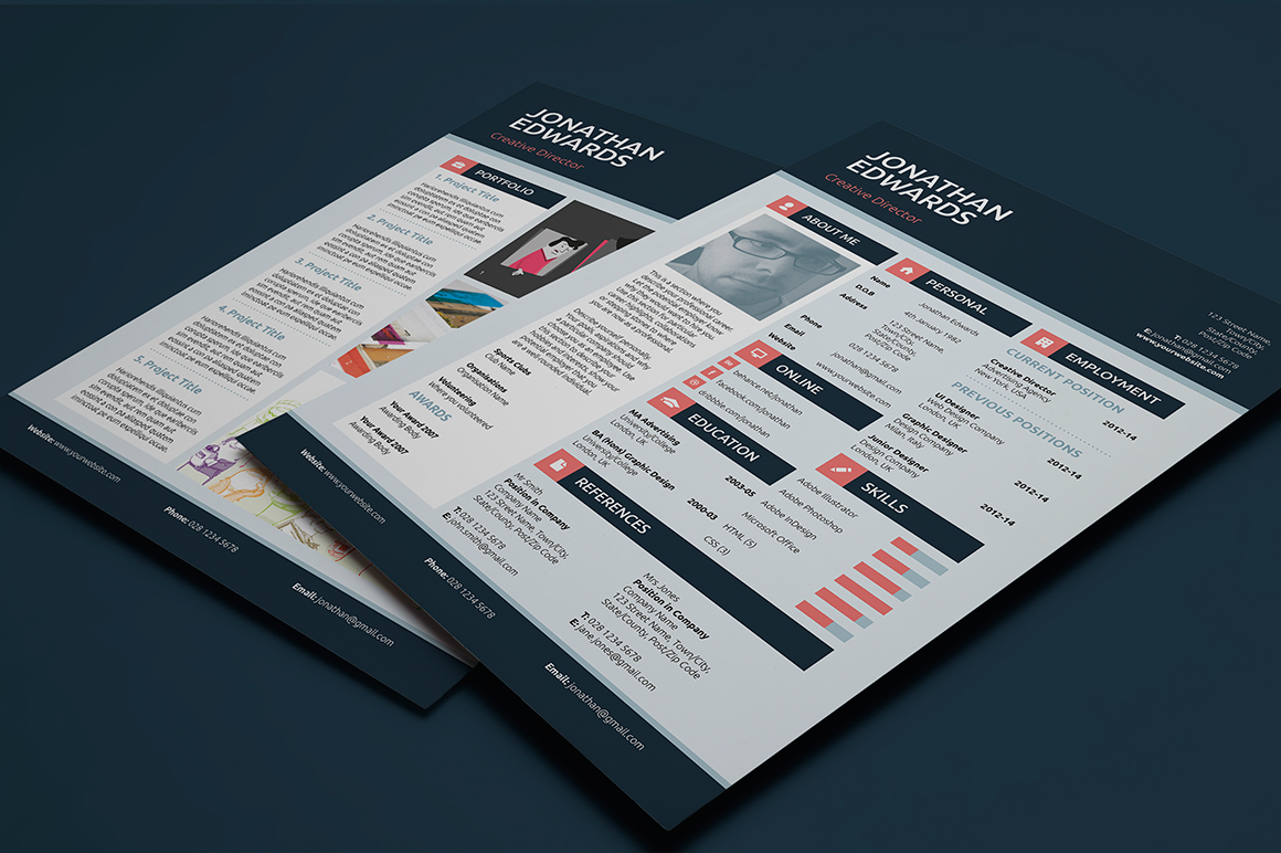 flat style resume  cv on behance