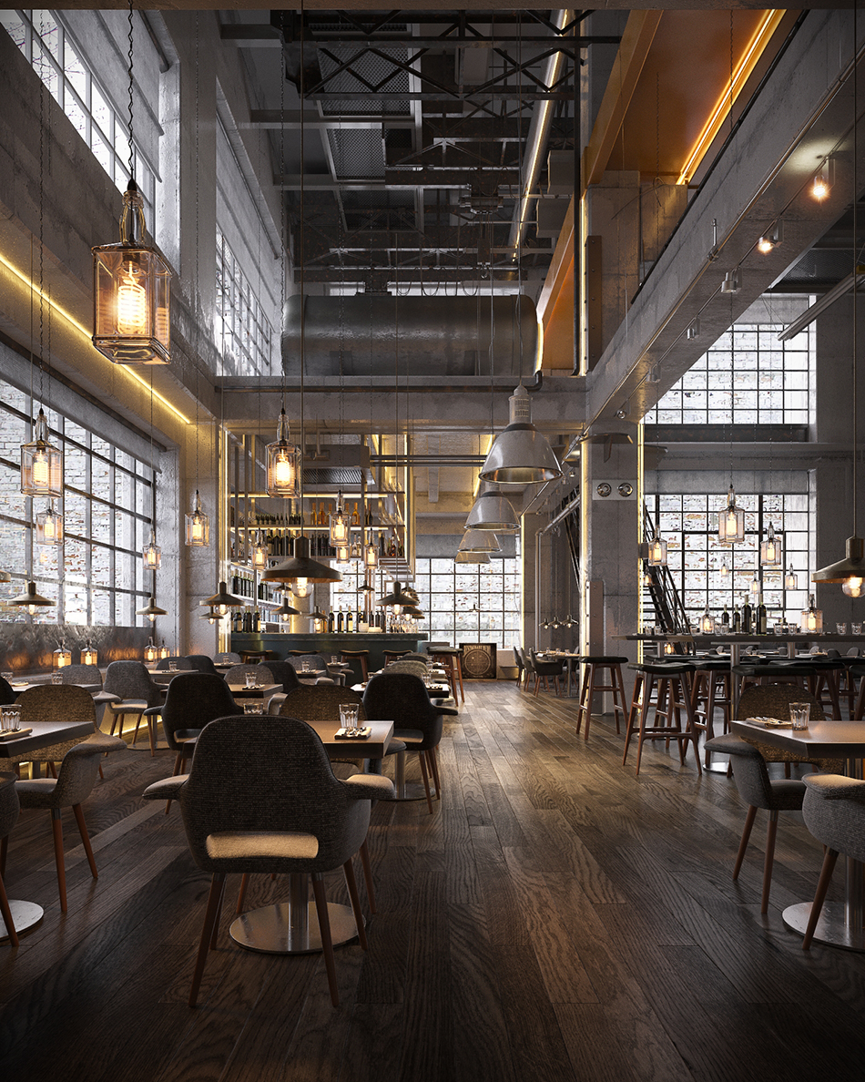 Industrial bar and restaurant on behance for Industrial hotel design