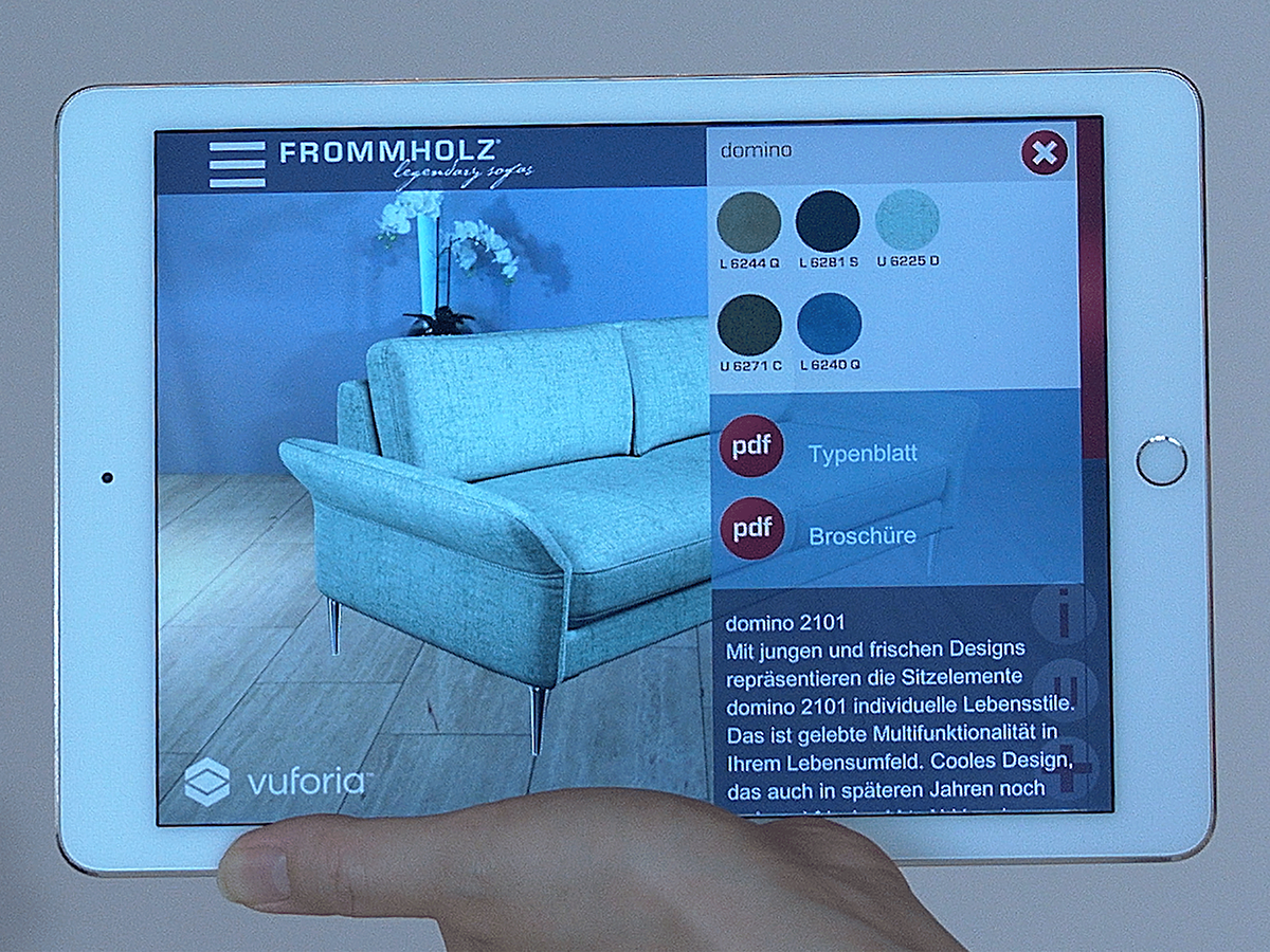 Frommholz legendary sofas Augmented Reality app on Behance