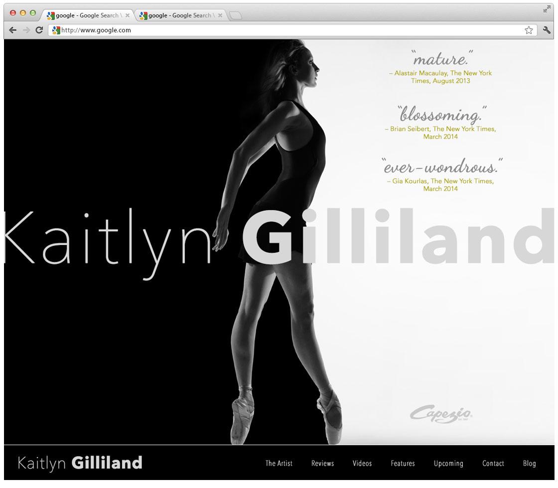 Responsive website design concept for ballerina