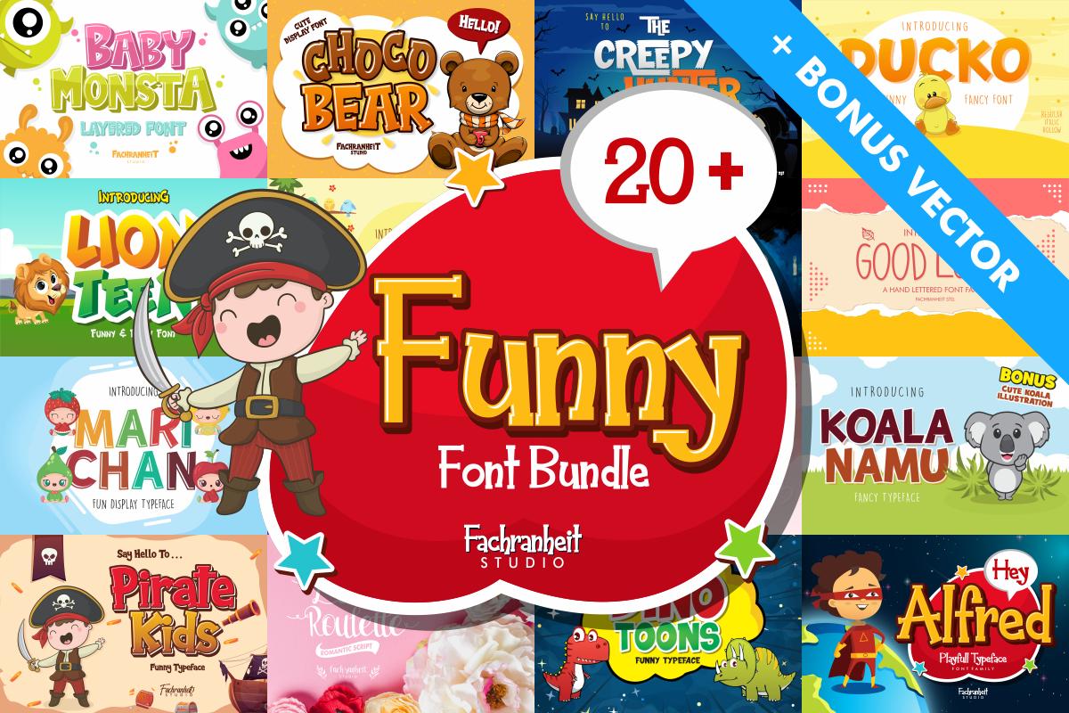 Bonus cartoon comic Display fancy Font Bundle funny logo Logotype vector