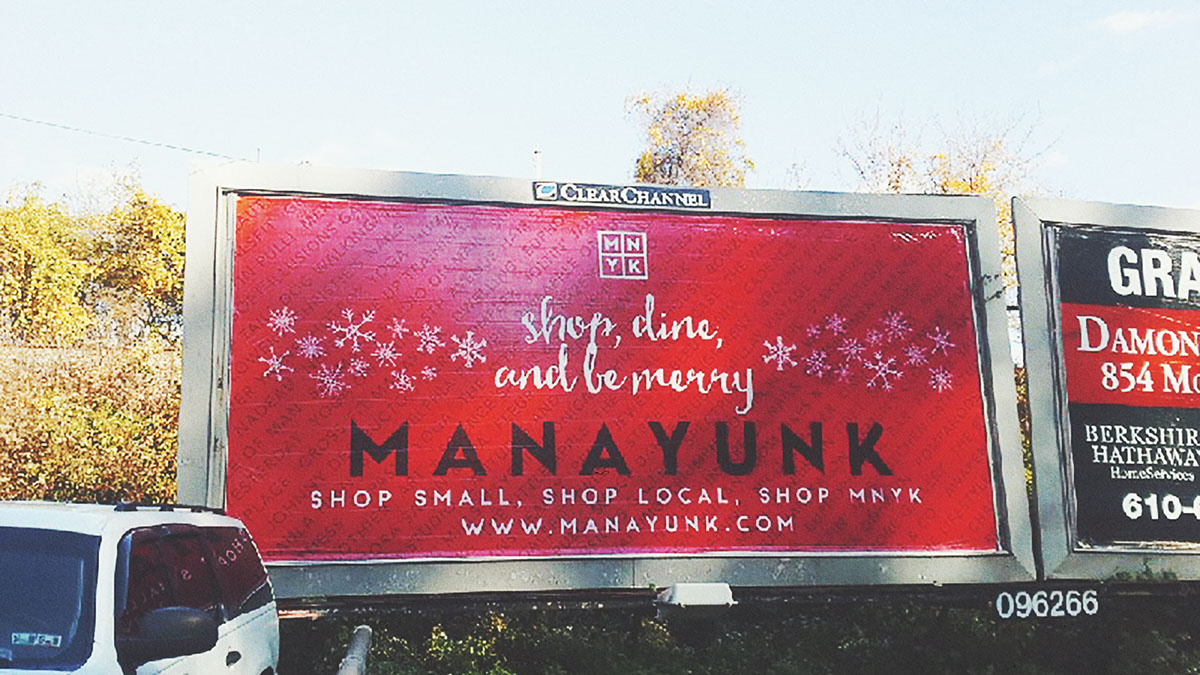 Holiday campaign Public Transit philadelphia Christmas Manayunk Philly billboard bus train print commercial titles