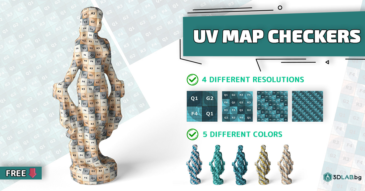 3D UV checker download Mapping maps pattern texture UV Checker free UVW