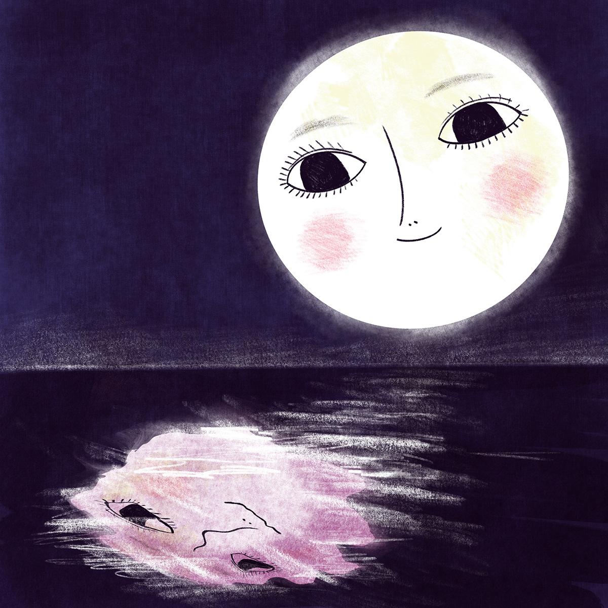 children's illustration Drawing  kidlit kidlitart moon story book art Sun
