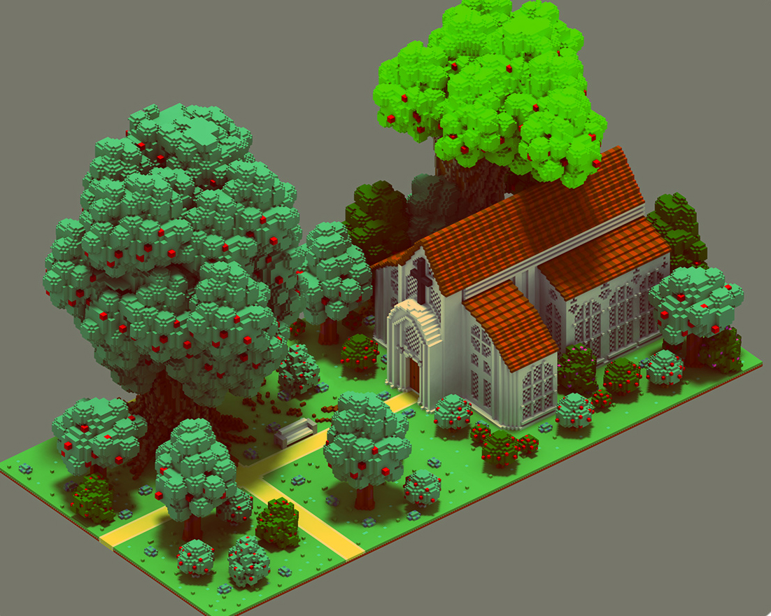 Medieval Scenes Voxel Art On Behance