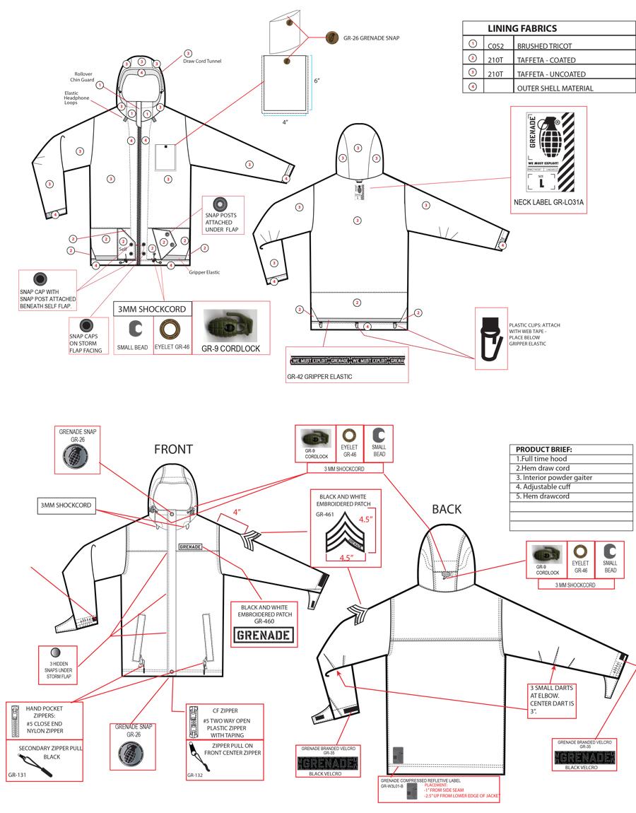 grenade gloves jacket apparel bad religion core skate snow action sports