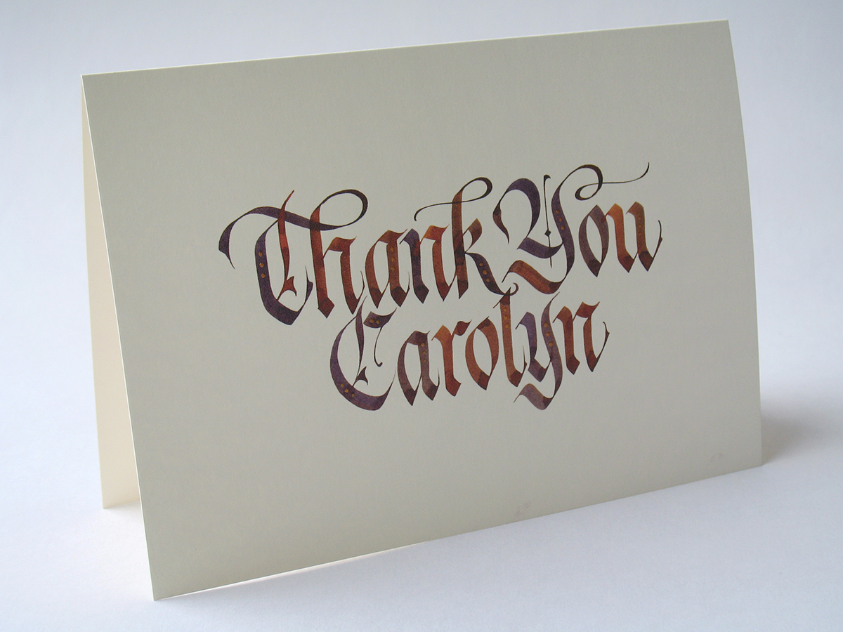 Calligraphy thank you cards on behance