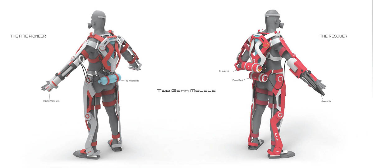 A F A Powered Exoskeleton Suit For Firefighter On Behance