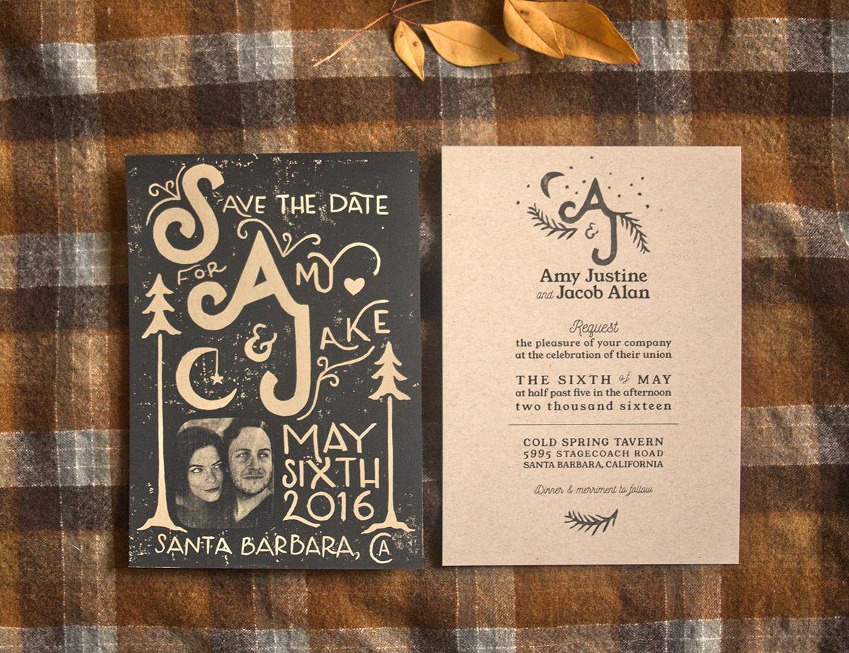 Wedding Acceptance card linocut