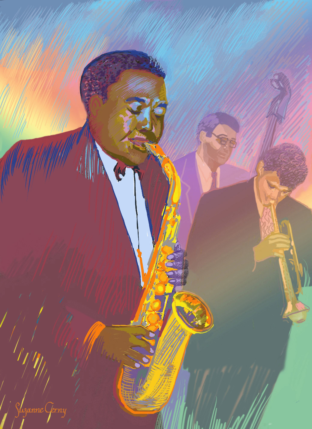 Jazz Art Images On Behance Exploded View Diagram Randal Birkey Illustration Nate Trumpet Style After Chet Baker At The Time This Was Painted Live In Performance Santa Barbara Ca Signed By All Players
