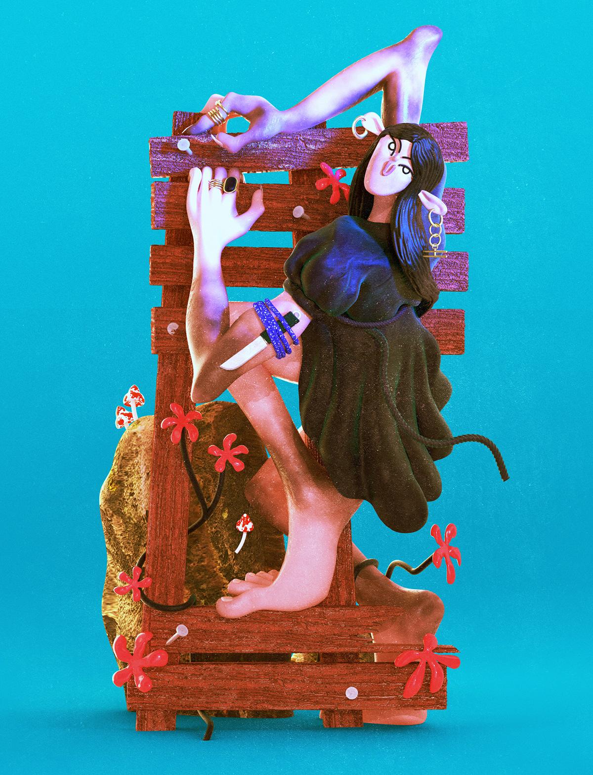 3D Character cinema 4d Fashion  ILLUSTRATION  pagan vibrant