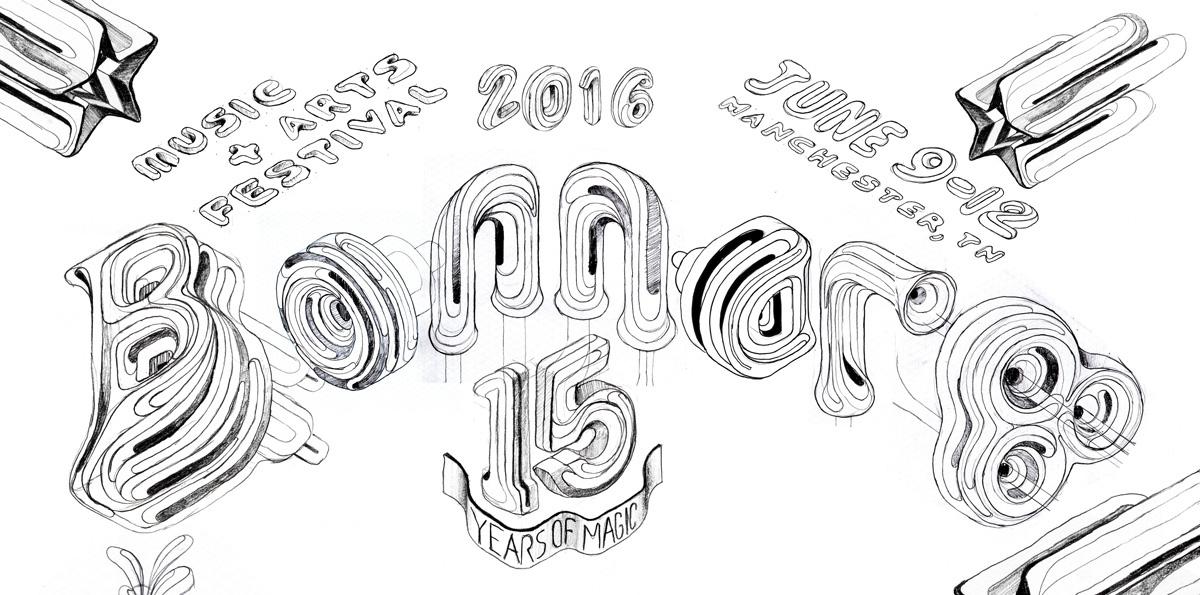 ILLUSTRATION  type typography   Illustrator Isometric Magic   festival music bonnaroo identity