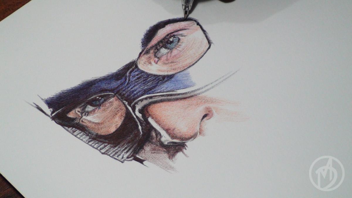 captain america ballpoint pen drawing on behance