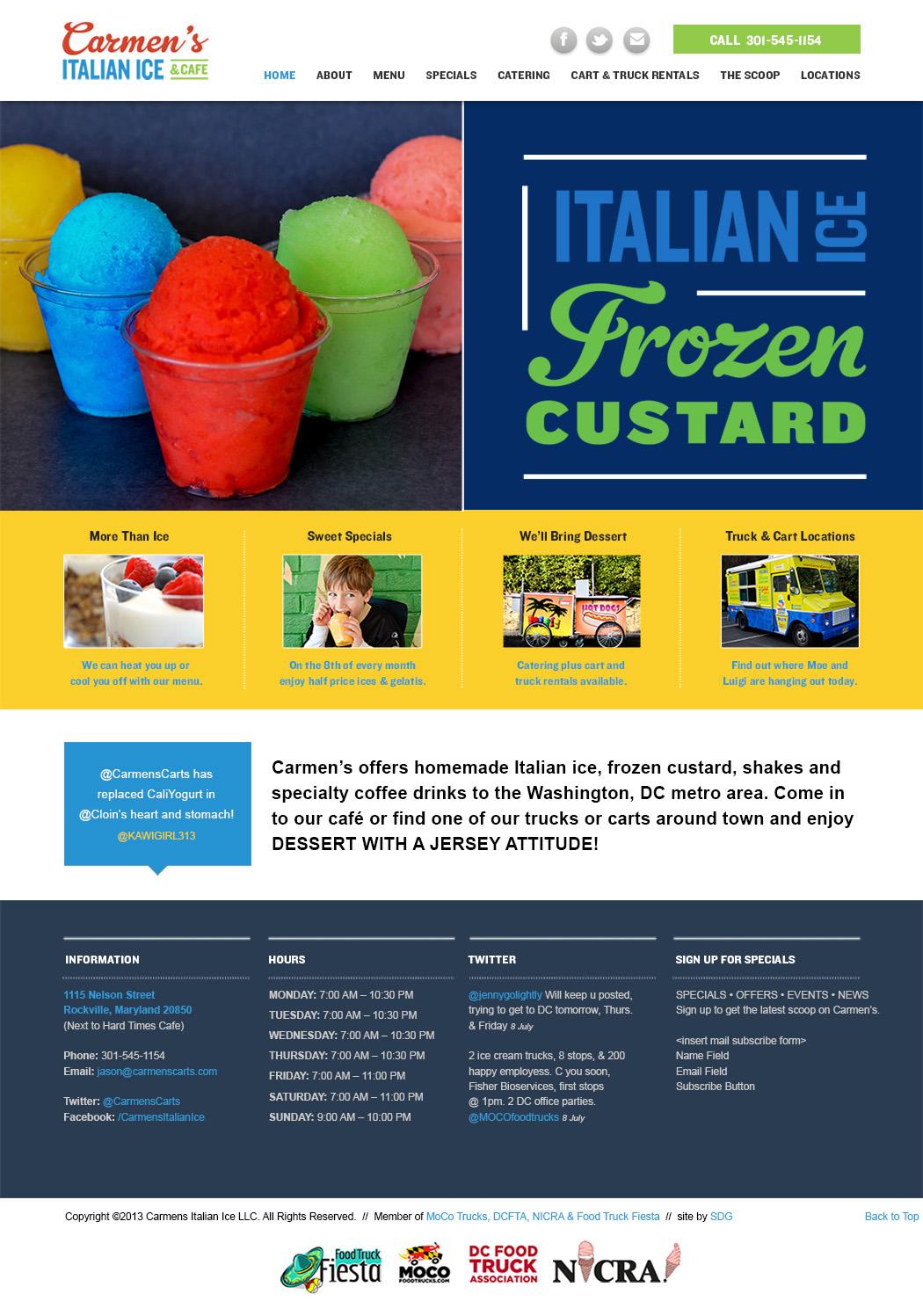 Carmens Italian Ice and Cafe, Website Design, Restaurant Branding, Rockville, MD