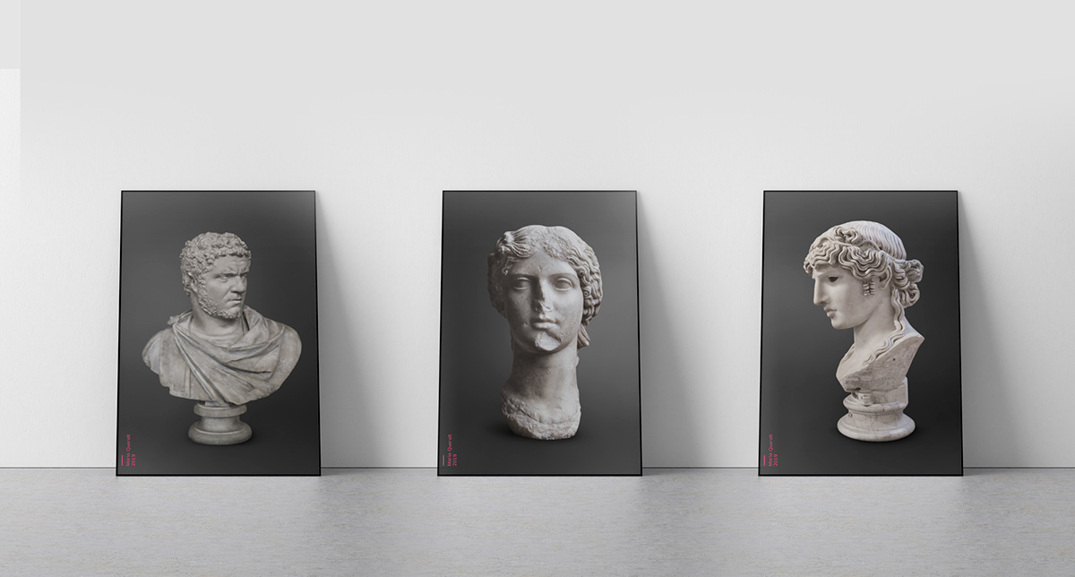Ancient influencers Photography  editorial magazine louvre museum  Agrippina caracalla Antinous neon ink