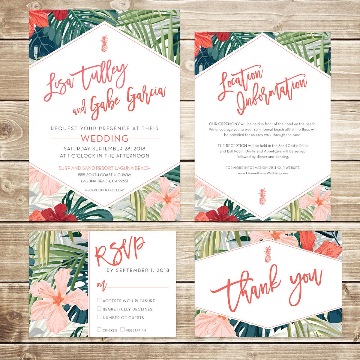 Tropical Wedding Invitation Suite on Behance