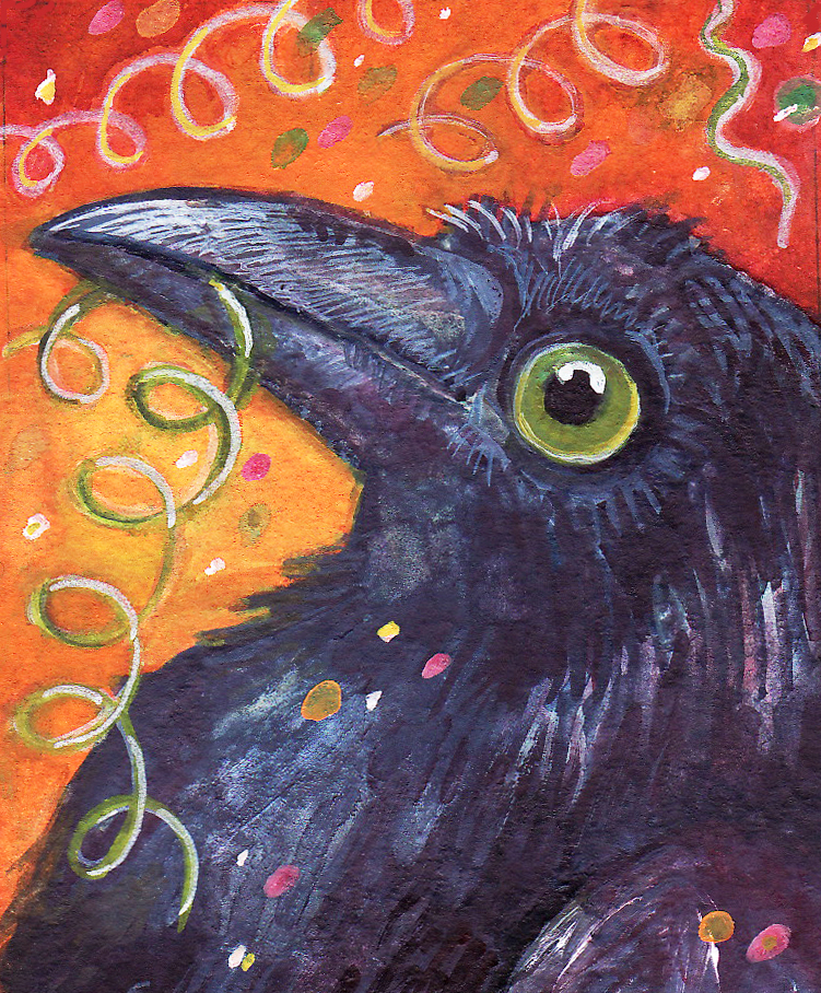 raven,bird,crow,watercolor
